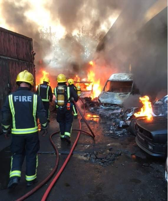 Three vans and seven cars destroyed in Ilford scrapyard fire which shuts A406 North Circular Road